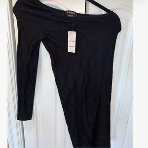 Black bebe one shoulder  mini dress. Never worn